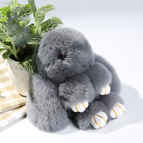 9155 Genuine Fur Bunny Fluffy Rex Rabbit Key Ring Bag Car Charm Pendant Handbag