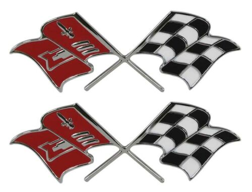 1957 Corvette Front Fender X-Flag Emblem Fuel Injection Pair  Made in the USA