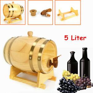 NEW-Pine-wood-Barrel-Whiskey-Wine-5-liter-Wooden-Barrel-Spirits-Storage-Wine-Keg
