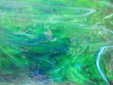 Stained Glass, Medium Green Dark Blue White Opal Wisspy Mystic, Wissmach SHEET