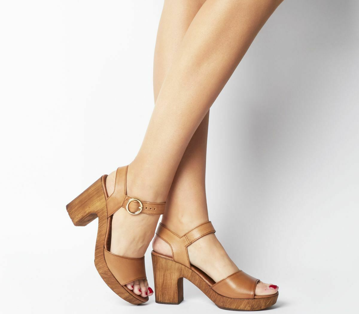 Womens Office Mariel Block Sandals Tan Leather Heels