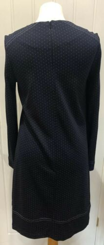 EX MARKS /& SPENCER COLLECTION NAVY SPOT LONG SLEEVE DRESS SIZES 6-22