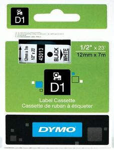 Genuine-DYMO-45013-Labeling-Tape-034-x-23-039-Black-Print-on-White-Tape-D1
