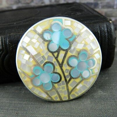 Sterling Silver Light Blue, Yellow and Mother of Pearl Flower Pendant