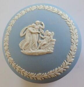 Wedgwood Blue Jasperware Grecian Cameos Round Bonbon Trinket Box Mint Nice Ebay