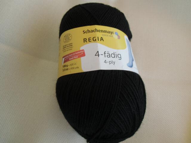 100g Regia uni - Fb.2066 schwarz - 4-fädig -Sockenwolle Schachenmayr Wolle/Polya
