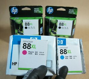 1134-2x-TWO-HP-88XL-2x-C9396A-BLACK-NO-BOX-Cyan-amp-Magenta-RRP-gt-288