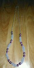 Handmade Beaded Necklace Purple Glass Pearl Beads, Diamante, Silver Gizmo Beads