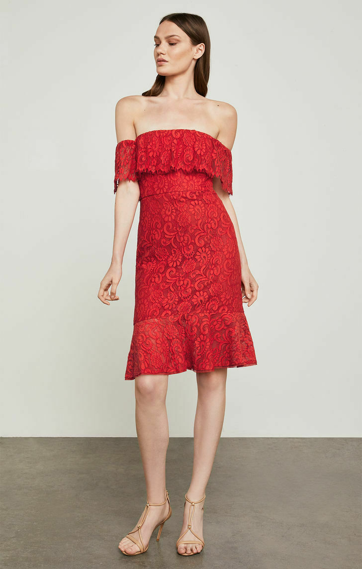 NWT BCBG MAX AZRIA  rot OFF THE SHOULDER LACE OVERLAY RUFFLE DRESS SZ 10