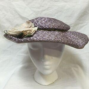 Vintage-50s-Saucer-Hat-Lilac-Purple-Spring-Garden-Sun-Woven-Wide-Brim-Big-Flower