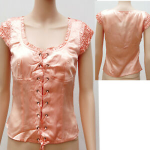 PEACH-LACE-UP-FRONT-FITTED-BODICE-TOP-BLOUSE-ALTERNATIVE-STEAM-PUNK
