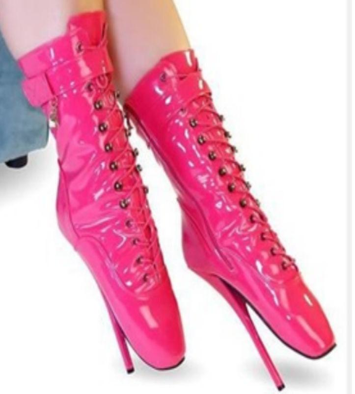 botas al Tobillo Alto Ballet rosado de de de PVC, botas altas cura, Pony, Sexy Corsé bota, a414b2