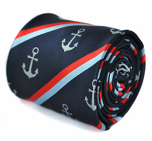 Frederick-Thomas-Designer-Mens-Tie-Dark-Navy-Blue-Striped-Nautical-Anchor