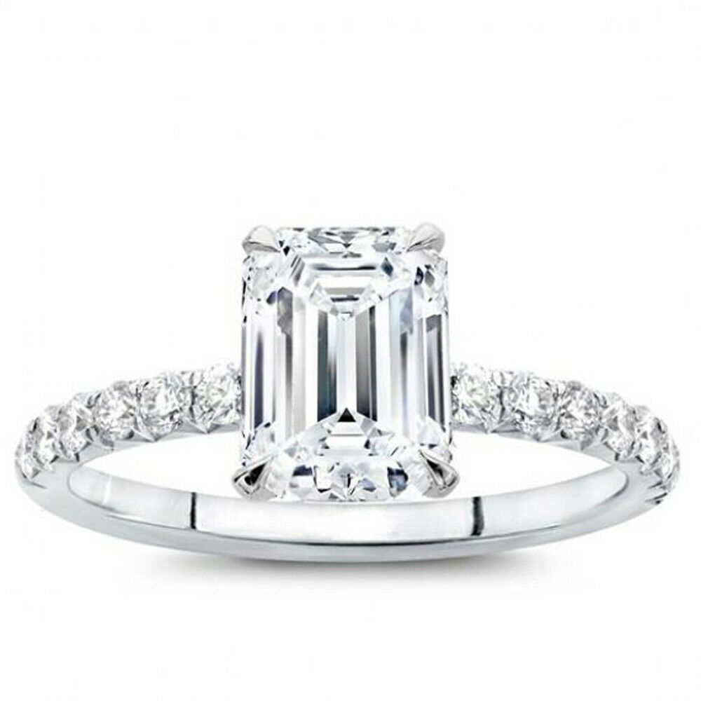Emerald Cut 1.80 Ct Diamond Engagement Ring Real 18K White gold Ring Size 7 6.5