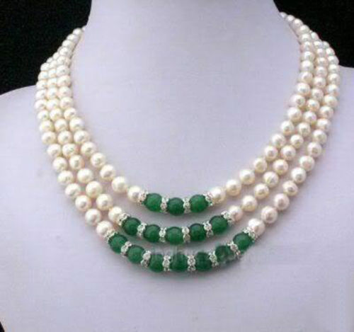 3 rangées 7-8 mm Real White Akoya Cultured Perle /& Vert Jade Pendentifs Collier