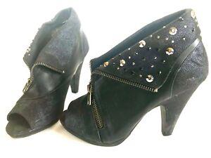 BKE-Soles-Black-Embellished-Booties-Peep-Toe-Heels-Zip-Funky-Style-Women-039-s-6-5