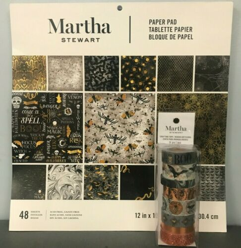 *New* Martha Stewart Paper Pad /& Washi Tape Combo Halloween Backgrounds 12x12