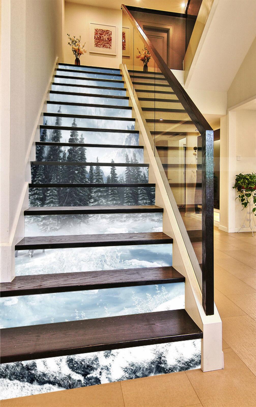3D Winter Baum 767 Stair Risers Dekoration Fototapete Vinyl Aufkleber Tapete DE