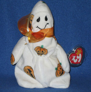 TY GHOULISH the HALLOWEEN GHOST BEANIE BABY - MINT with MINT TAG