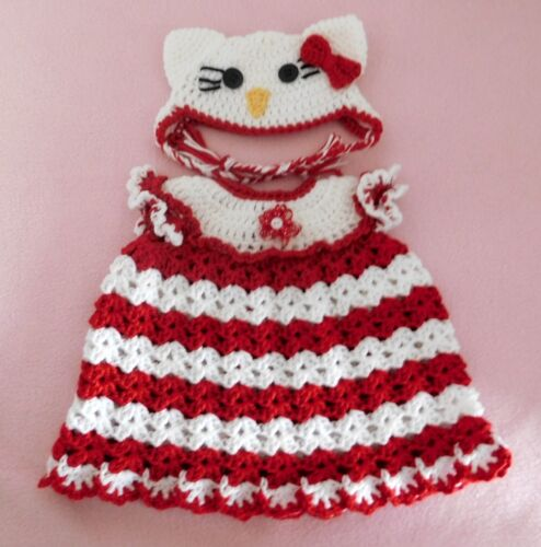 """American Girl Doll Clothes Crochet Red Kitty Dress /& Hat Fit American Girl 18/"""""""