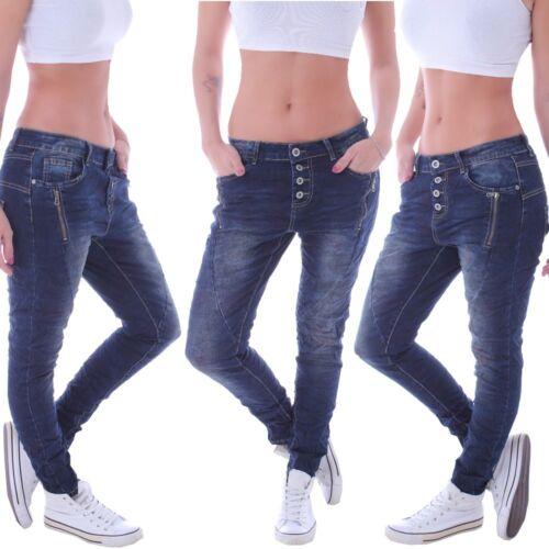 Damen Boyfriend Jeans Chino Baggy Harem Hose Harems Hüfthose Pumphose D035