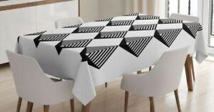 Nero-e-Bianco-Tovaglia-Art-Deco-Quadrate-Impermeabile