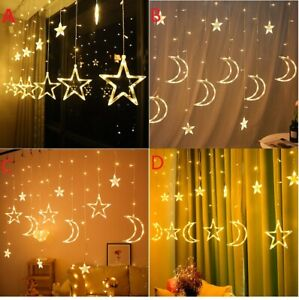 LED Stars Christmas Hanging Curtain Lights String Net Xmas Home Party Home Dec