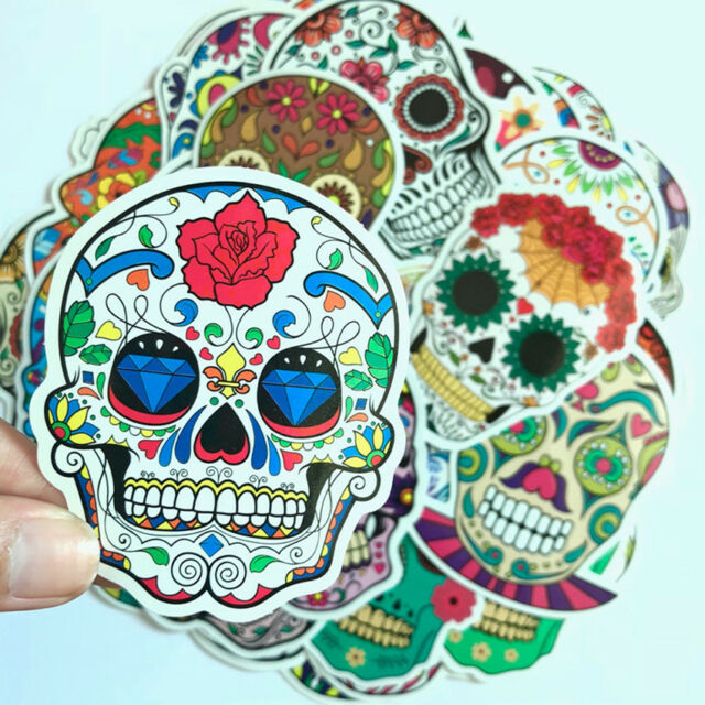 50Pcs Cute Skull Decor Laptop Stickers Waterproof Luggage Decal For Skateboard