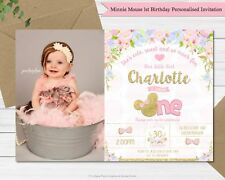 Item 2 MINNIE MOUSE 1ST BIRTHDAY PARTY INVITATION PHOTO INVITES CARD GOLD EARS FLORAL