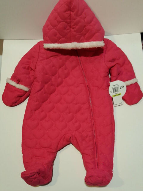 5f59ff56e Absorba Baby Girls Snowsuit Quilted Heart Pink Pram Bunting 3-6 ...