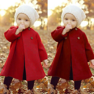 Cute Autumn Winter Button Cardigan Jacket Outerwear Solid Cloak Warm Coat Trench Clothes 0-5T Baby Little Girls