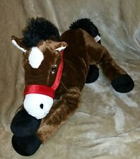 Horse Pony Pillow stuffed animal Brown & White 30 Inch Large Plush Dan Dee #1