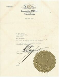 Arizona Governor R.C. Stanford 1938 Letter and State Gold Seal Autographed