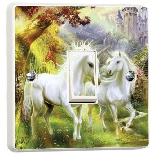 Fantasy Unicornio Paradise vinilo pegatina de interruptor de luz de piel cubierta de la etiqueta de la pared
