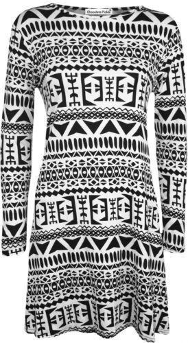 Womens Plain Jersey Tartan Print Long Sleeve Ladies Party Skater Dress6-24*Swing