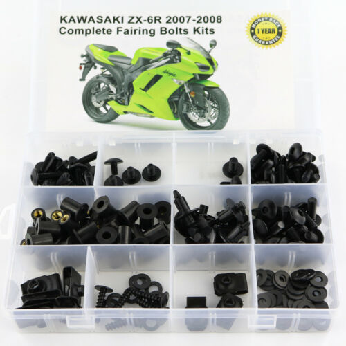 Steel Fairing Bolt Kit Bodywork Screws For Kawasaki ZX-6R ZX-6RR 2007 2008 Black