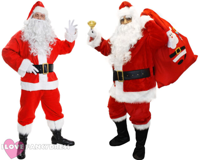 Plus Size Christmas Costumes.Deluxe Santa Costume Plush Father Christmas Suit Xmas Fancy Dress S Xxxxxl