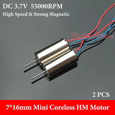 2PCS 6mm*15mm 3.7V 55000RPM High Speed Strong NdFeB Magnetic Mini Coreless Motor