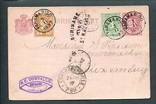"Suriname 1897, cijfer 17+19 bijgefr. briefkaart ""OVER St.NAZAIRE""   LUXEMBURG"