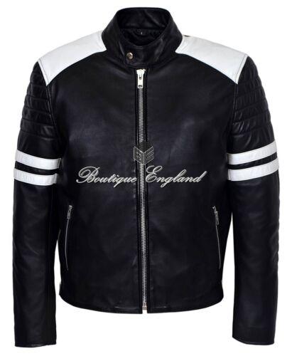 Men/'s /'MAYHEM/' Leather Jacket Black with WHITE Stripe Biker Style REAL LEATHER