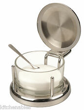RSVP Endurance®  Stainless & Glass SALT Keeper BOX DISH SERVER CELLAR