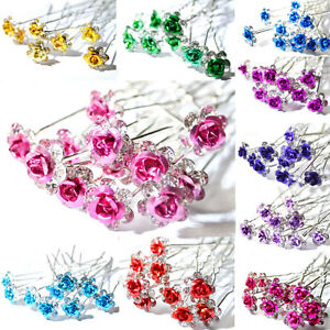 5-10pcs-Rose-Flower-Crystal-Wedding-Party-Bridal-Prom-Star-Hair-Pin-Clips