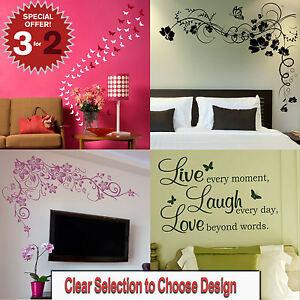 Butterfly-Wall-Stickers-Butterflies-Transfer-Girl-Home-Art-Decor-Decal-New-x48