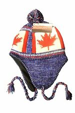 CANADA COUNTRY FLAG BLUE CHULLO HAT WITH POM POM..FOR KIDS
