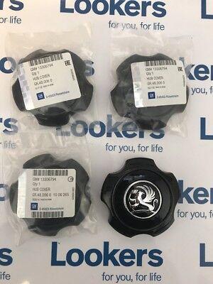 New Genuine Vauxhall Astra H Black Alloy Wheel Centre Caps X4 SRI VXR 13306794