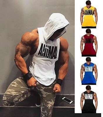 Hot Men Gym Clothing Bodybuilding Stringer Hoodie Vest Top Muscle hooded Clothes