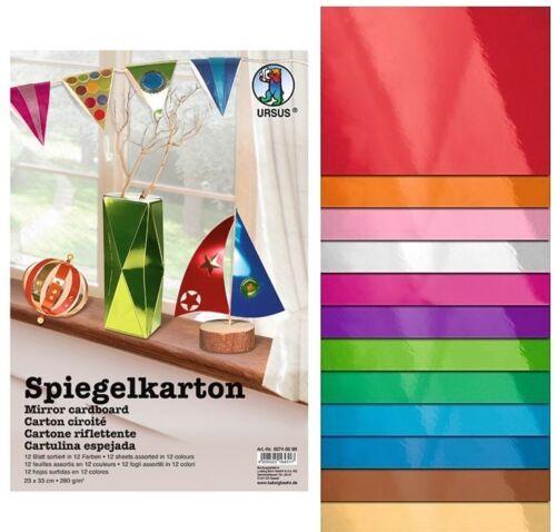 (Gp€11,10/m²)12 Blatt hochwertiger Spiegelkarton in 12 Farben 23x33 cm 280g/m²