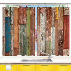 Details about Colorful Striped Wooden Board Kitchen Curtains 2 Panel Set  Decor Window Drapes