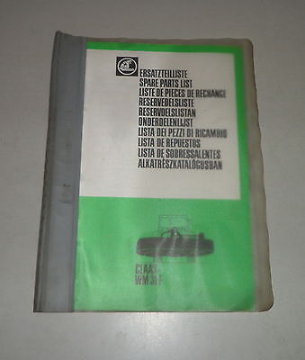 Industrial Candid Parts Catalog/spare Parts List Claas Front Mower Wm31f 01/1982