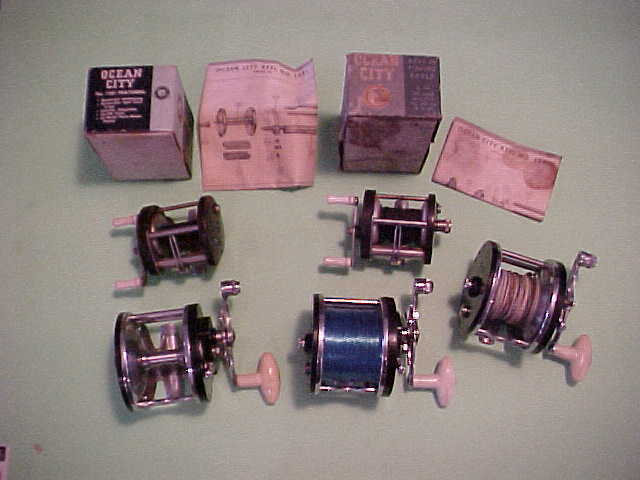 SET OF 5 OCEAN CITY FISHING REELS,112,112,112,999 & 1581,2 WITH BOXES SCHEMATICS